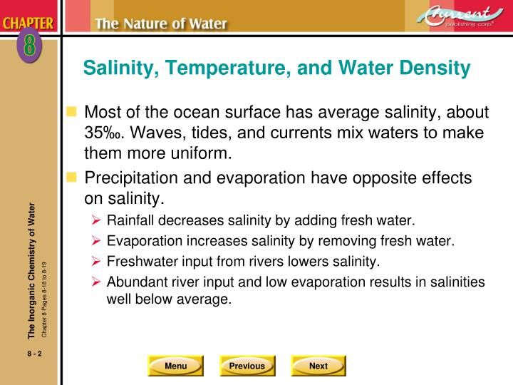 Salinity temperature and water density