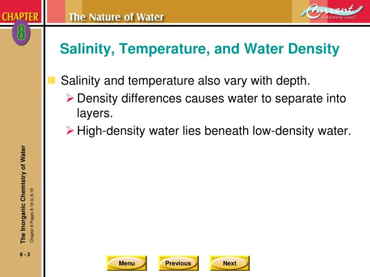 Salinity temperature and water density1