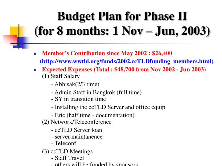 Budget Plan for Phase II