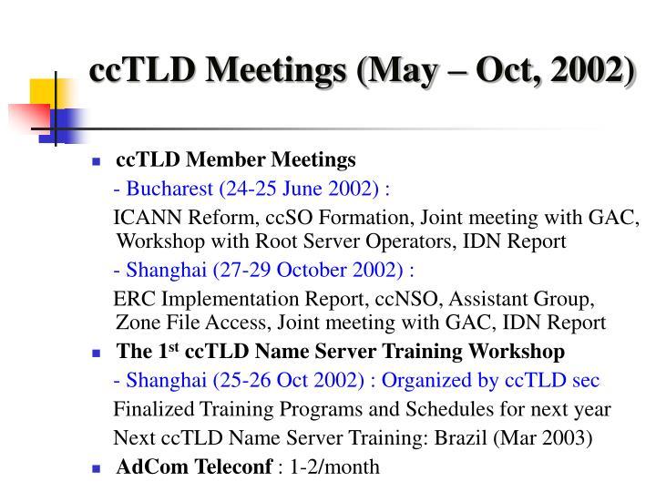 ccTLD Meetings (May – Oct, 2002)