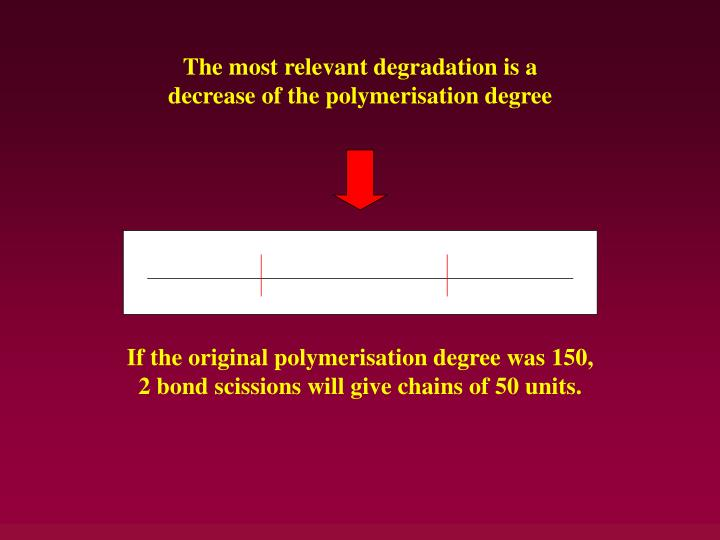 The most relevant degradation is a decrease of the polymerisation degree