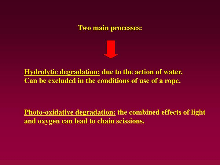 Two main processes:
