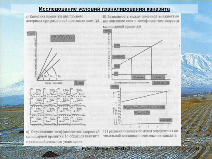 Исследование условий гранулирования каназита