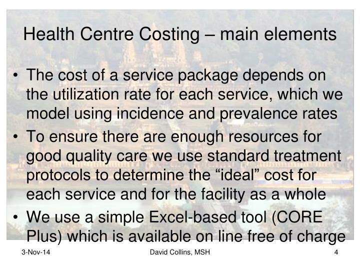 Health Centre Costing – main elements