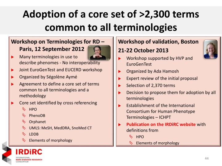 Adoption of a core set of >2,300 terms common to all terminologies