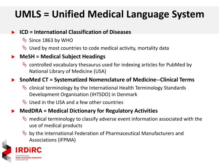 UMLS = Unified Medical Language System