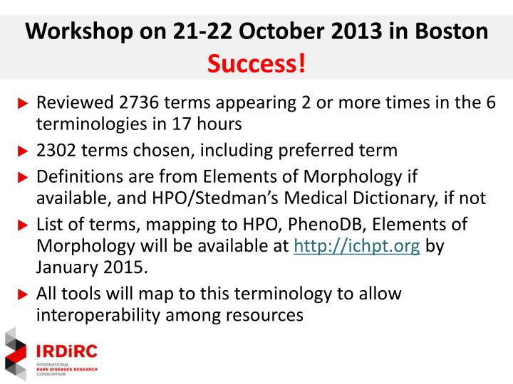 Workshop on 21-22 October 2013 in Boston