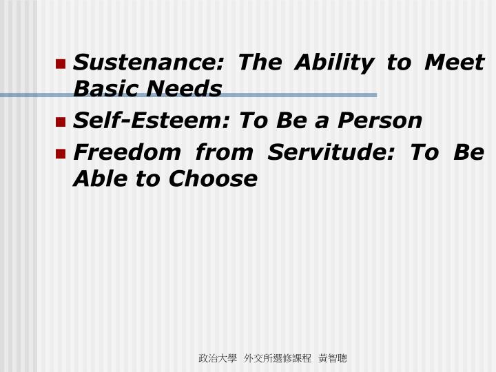 Sustenance: The Ability to Meet Basic Needs