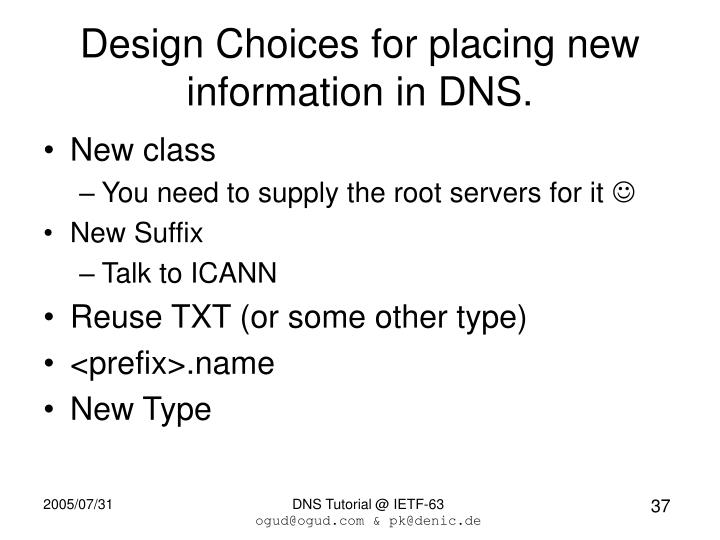 Design Choices for placing new information in DNS.