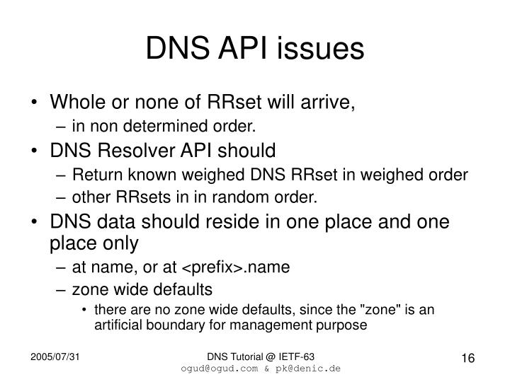 DNS API issues