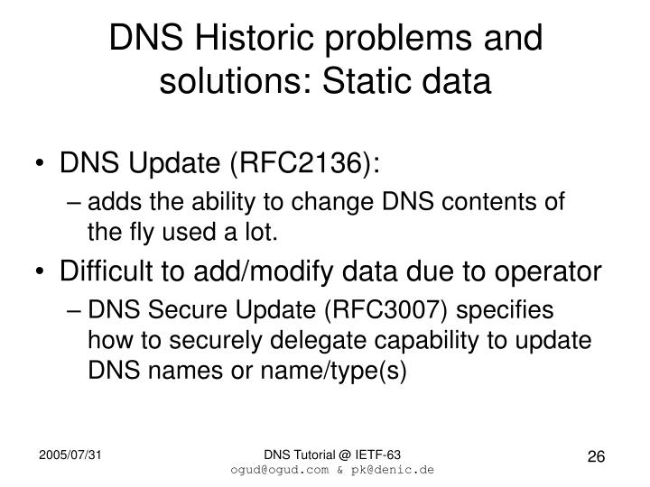 DNS Historic problems and solutions: Static data