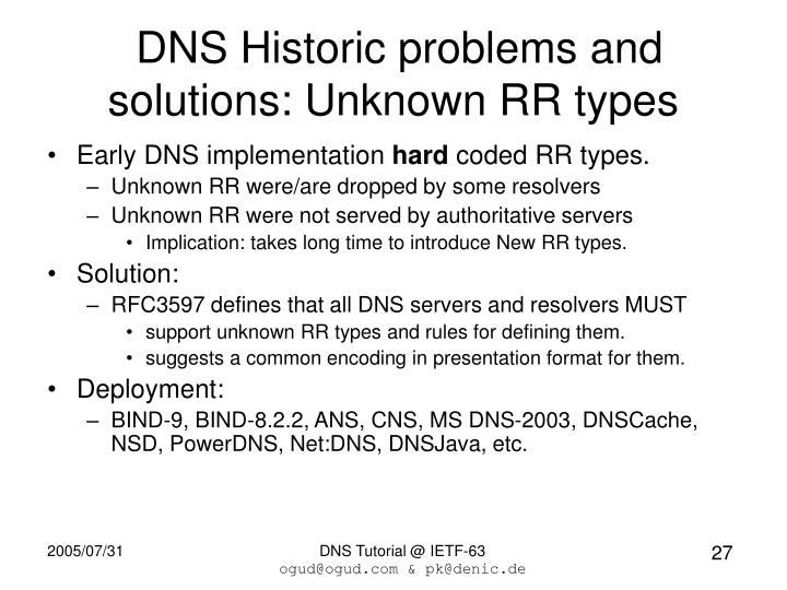 DNS Historic problems and solutions: Unknown RR types