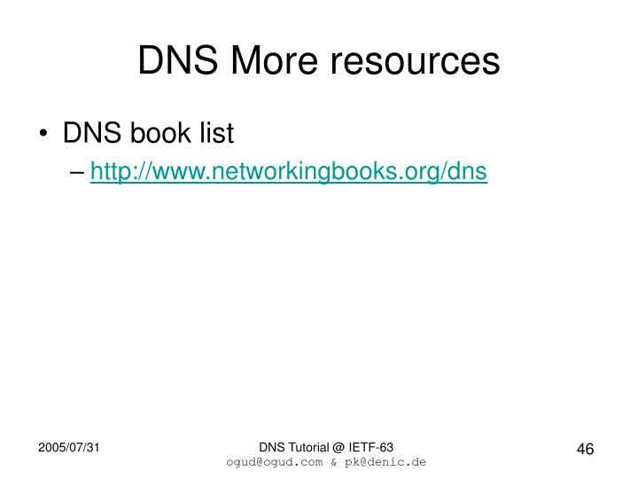 DNS More resources