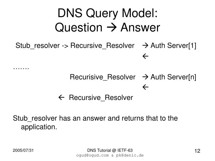 DNS Query Model: