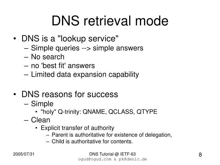 DNS retrieval mode