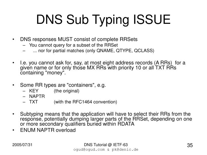DNS Sub Typing ISSUE
