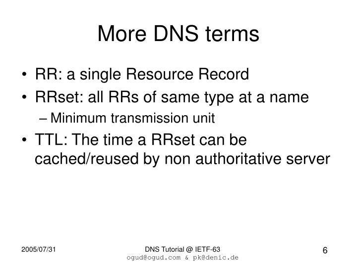 More DNS terms