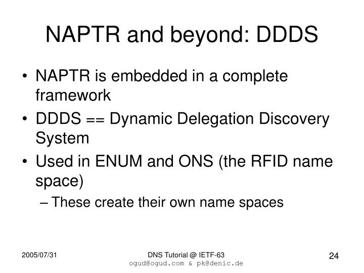 NAPTR and beyond: DDDS