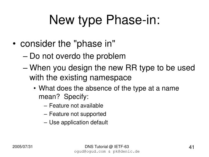 New type Phase-in: