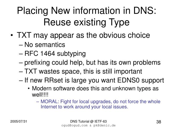 Placing New information in DNS: Reuse existing Type