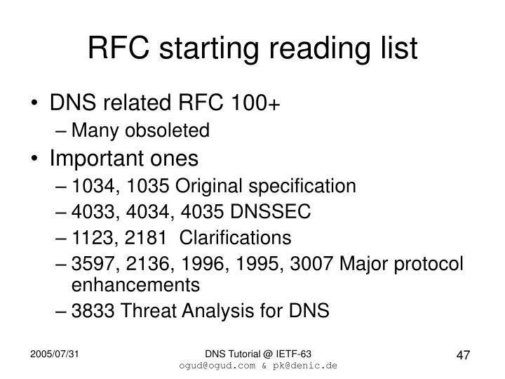 RFC starting reading list