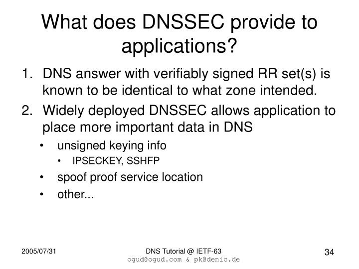 What does DNSSEC provide to applications?