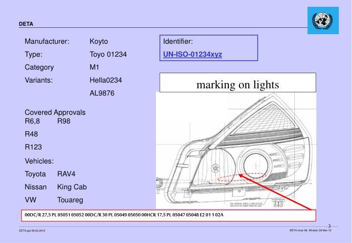 marking on lights