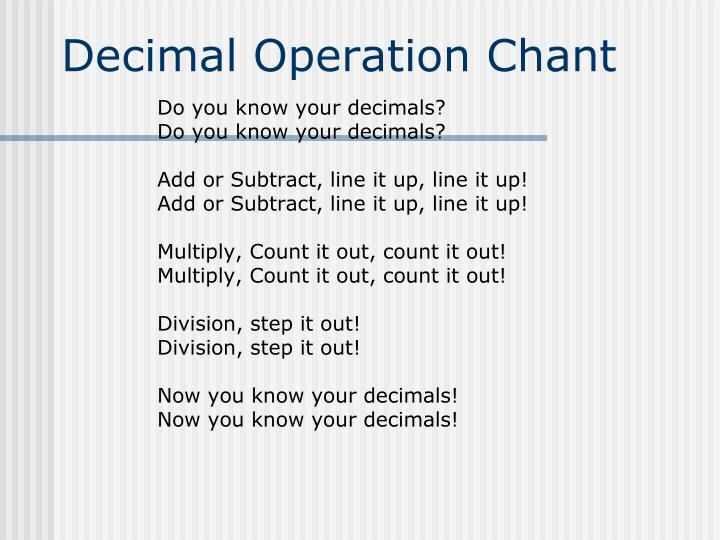 Decimal Operation Chant