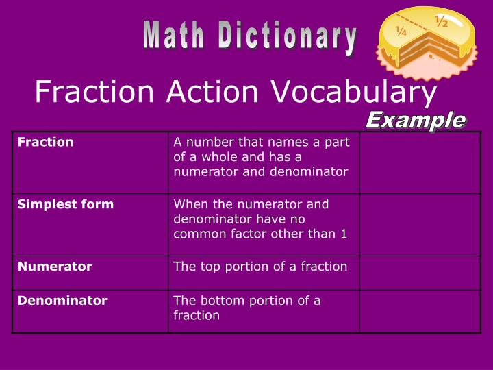 Fraction Action Vocabulary