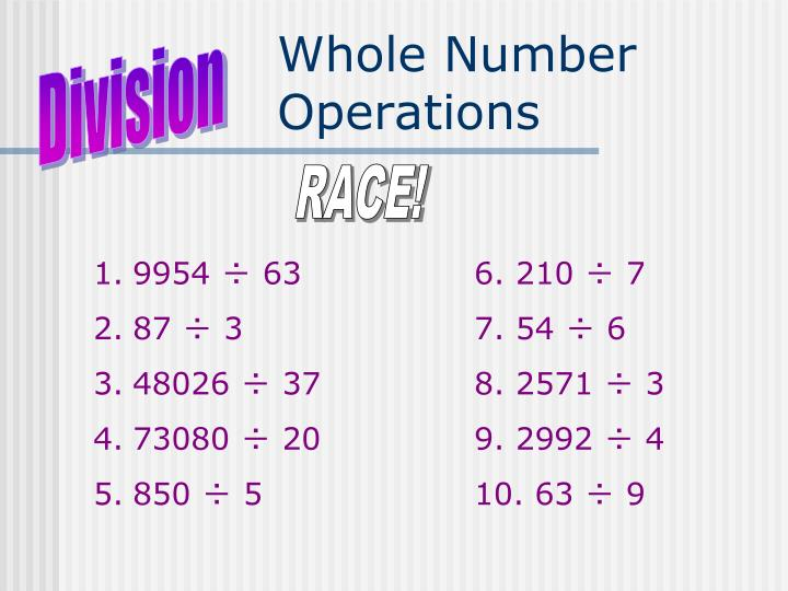 Whole Number Operations