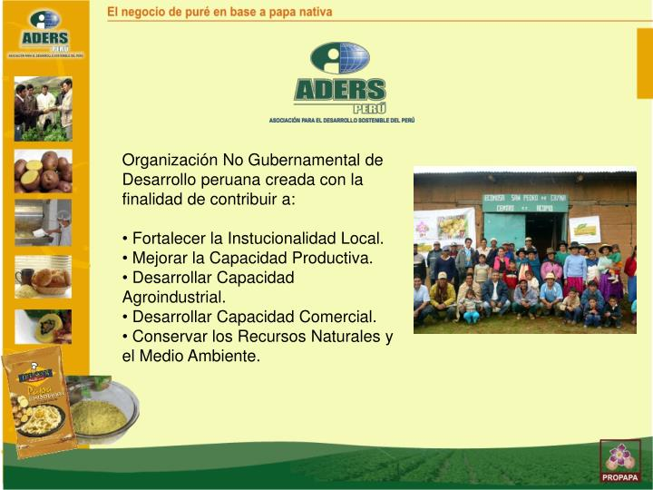 Organización No Gubernamental de Desarrollo peruana creada con la finalidad de contribuir a: