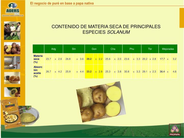 CONTENIDO DE MATERIA SECA DE PRINCIPALES