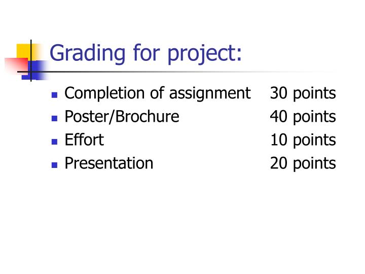 Grading for project: