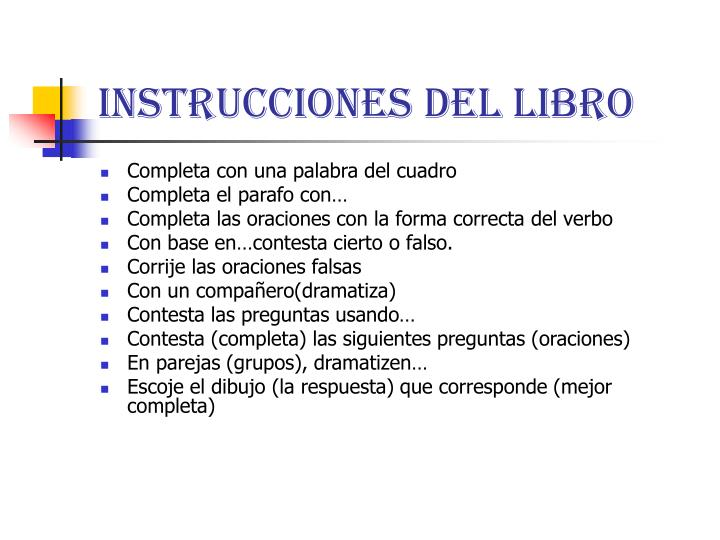 Instrucciones del libro