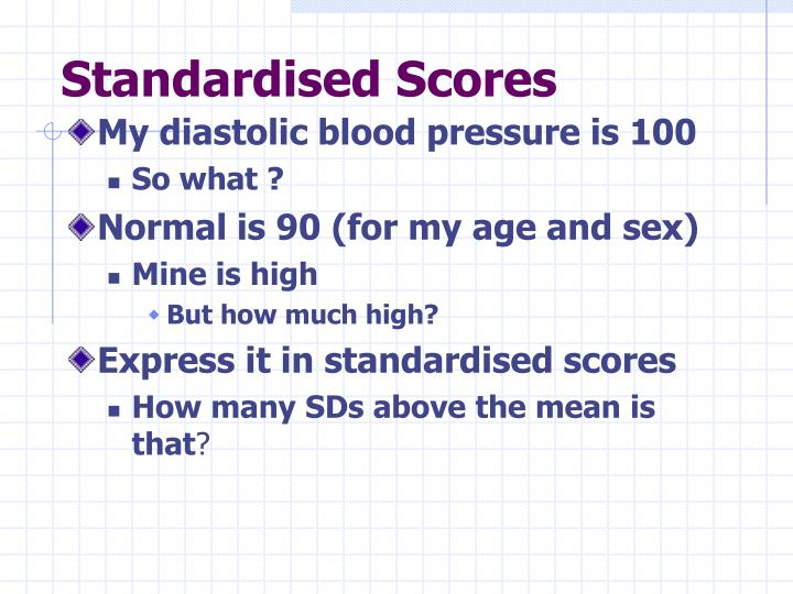 Standardised Scores