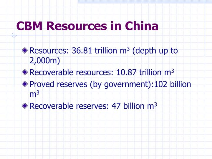 CBM Resources in China