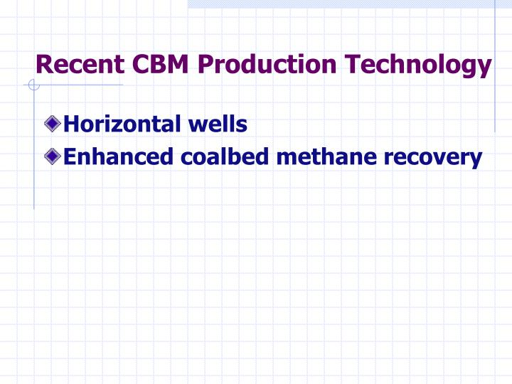 Recent CBM Production Technology