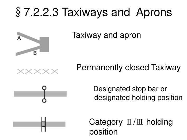 §7.2.2.3 Taxiways and  Aprons