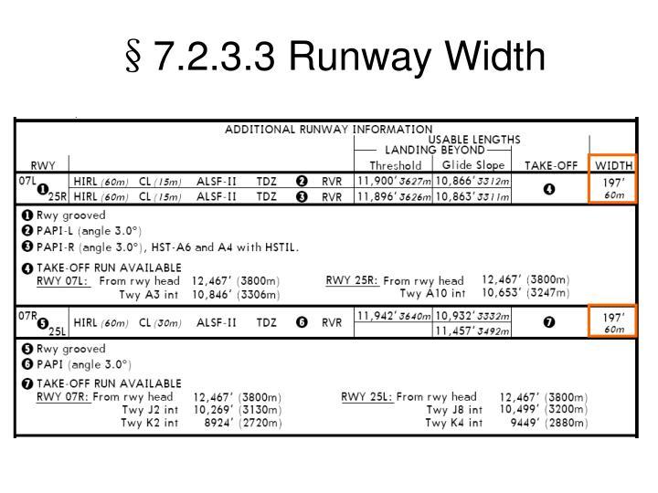 §7.2.3.3 Runway Width