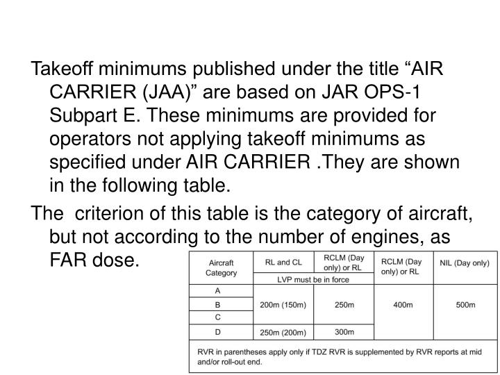 "Takeoff minimums published under the title ""AIR CARRIER (JAA)"" are based on JAR OPS-1 Subpart E. These minimums are provided for operators not applying takeoff minimums as specified under AIR CARRIER .They are shown in the following table."
