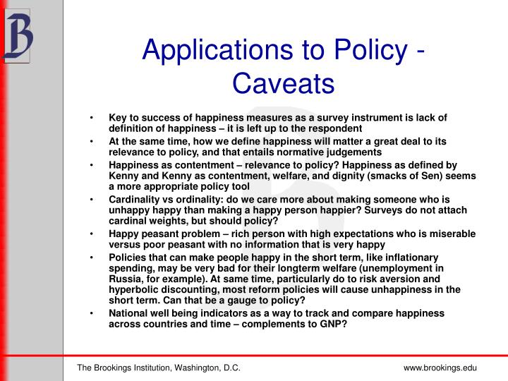 Applications to Policy - Caveats