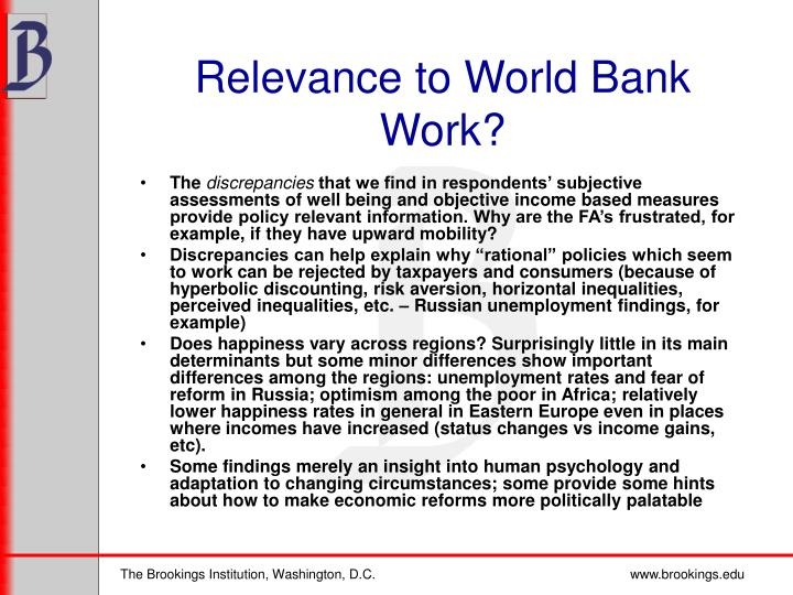 Relevance to World Bank Work?