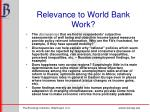 relevance to world bank work