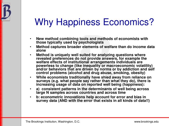 Why Happiness Economics?