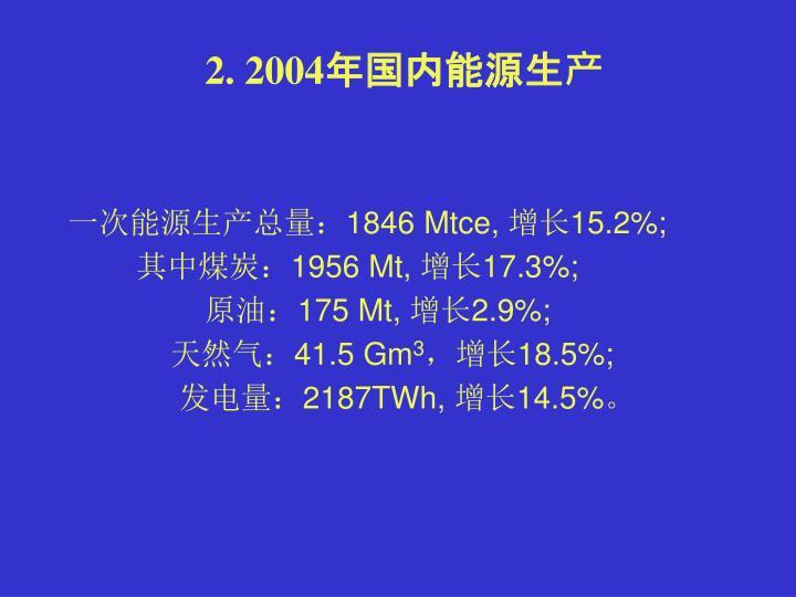 2. 2004年国内能源生产