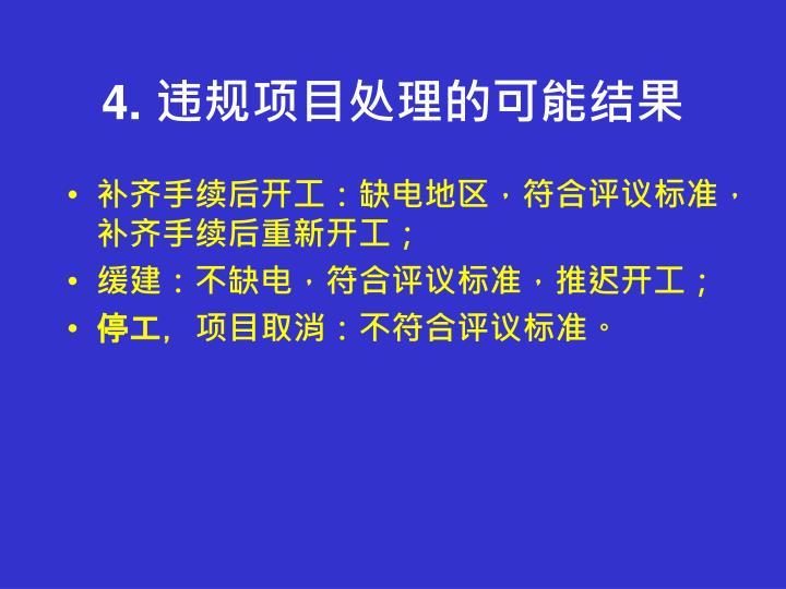 4. 违规项目处理的可能结果