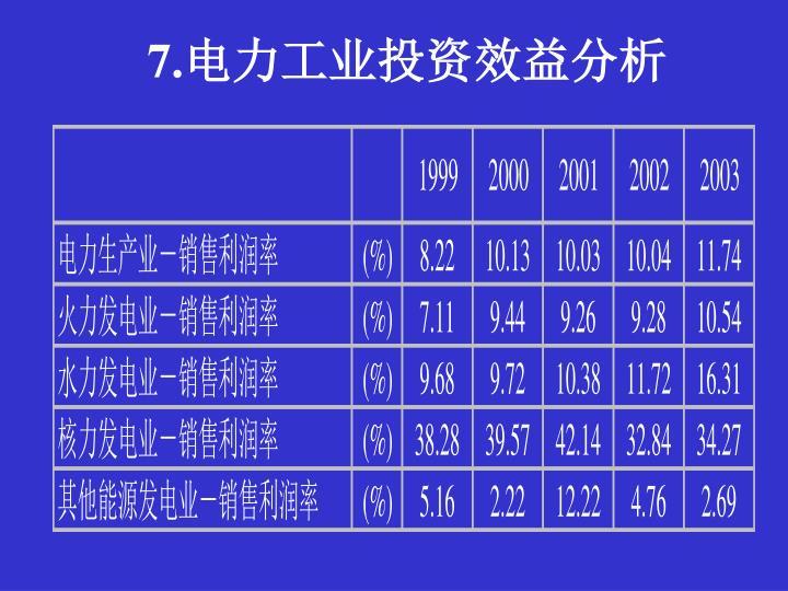 7.电力工业投资效益分析