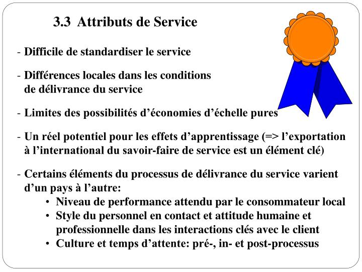 3.3  Attributs de Service