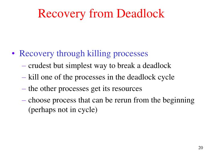 Recovery from Deadlock