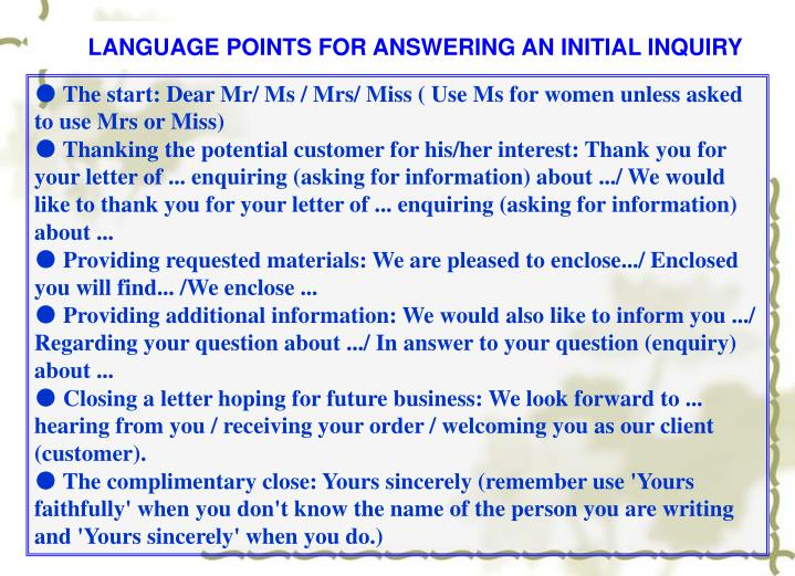 LANGUAGE POINTS FOR ANSWERING AN INITIAL INQUIRY